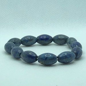 Blue Large Bead Stretch Bracelet